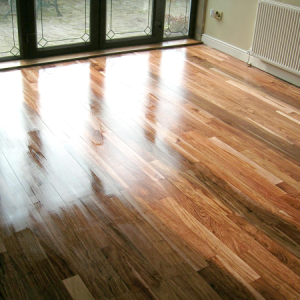 Freshly treated lounge real wood floor