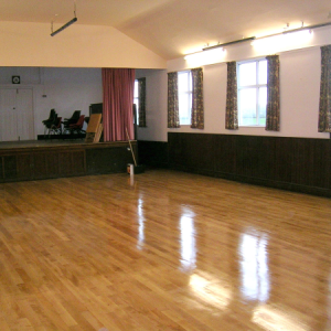 Finished community hall wooden floor