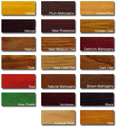 wooden floor stain colour chart